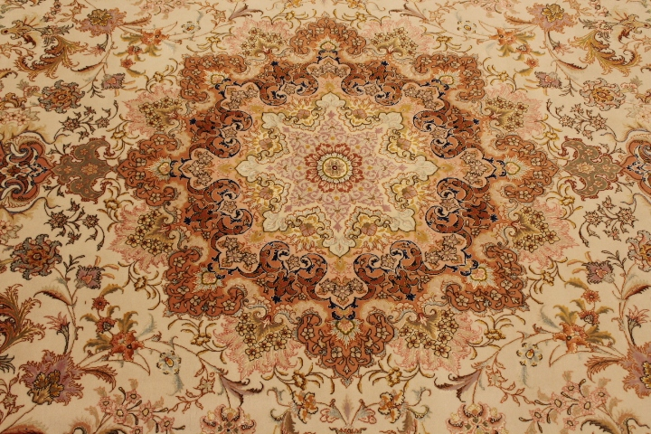 60 Raj Tabriz Persian rug with a silk foundation. Masterpiece Tabriz Persian carpet.