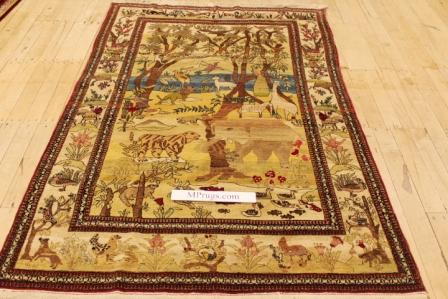 Antique Isfahan Persian rug, old Isfahan Persian carpet over 100 years old