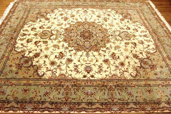 Faraji Tabriz Persian rug with a silk foundation. Masterpiece Tabriz Persian carpet.