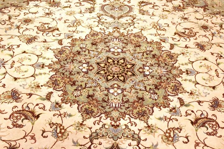 Faraji Tabriz Persian rug with a silk foundation. Masterpiece Tabriz Persian carpet.