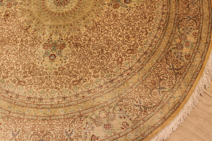 large round Qom silk Persian rugs. Round pure Silk red beige Qum Persian carpet.