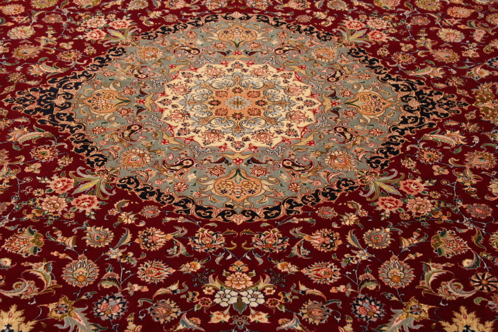 70 Raj Tabriz Persian rug with a silk foundation. red and blue Tabriz Persian carpet.