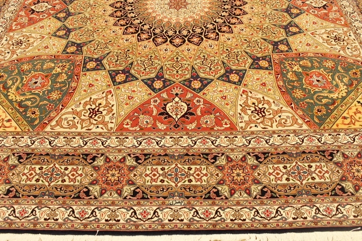 Square 10' Gonbad Tabriz Persian rug. Dome Design Gombad Tabriz Persian carpet.