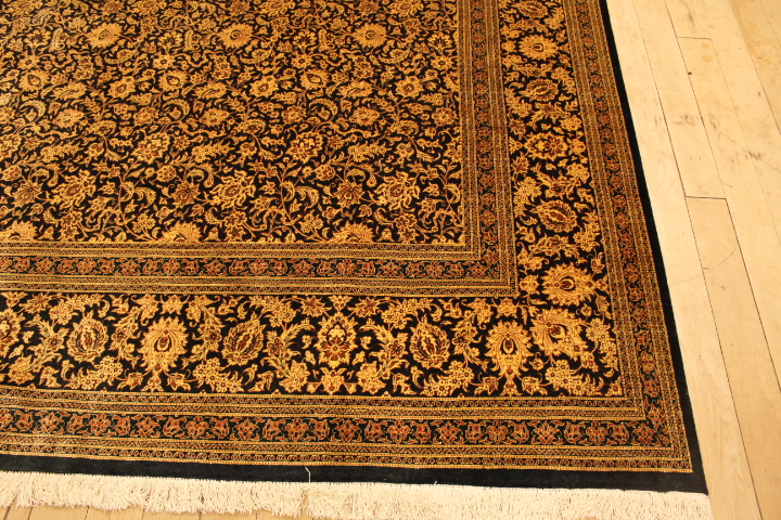 Large 10x8 black gold Qom silk Persian rugs. Pure Silk Qum Persian carpet with black gold colors.