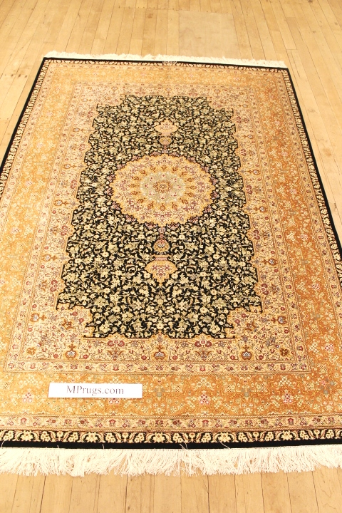Large 8x5 high quality Qom silk Persian rugs. Pure Silk Qum Persian carpet with dark colors.