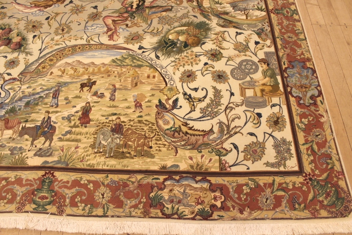 60 Raj pictorial Tabriz Persian rug with a silk foundation. Pictorial Tabriz Persian carpet of Persian history.