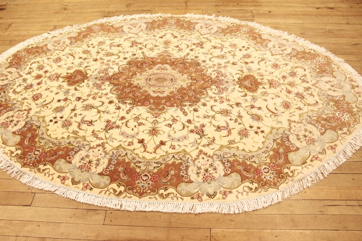 50 Raj Oval Tabriz Persian rug made by behnam. Beige oval Tabriz Persian carpet.