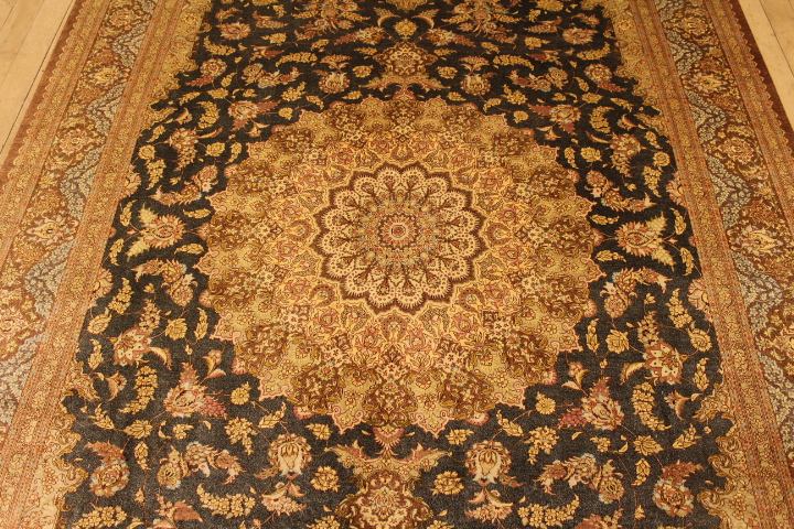 signed blue brown 9x6 Qom silk Persian rugs. Pure Silk Qum Persian carpet with sgnature.