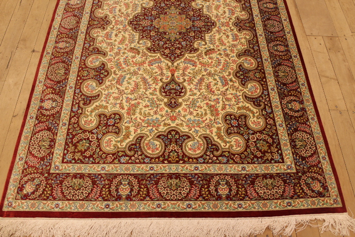 Beige red 6x4 Qom silk Persian rugs. Pure Silk Qum Persian carpet with beige and red colors.