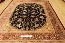 Pictorial Hunting Design Qom silk Persian rugs Chappaqua. Pure Silk Qum Persian carpet with hunting design