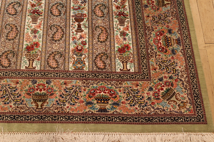 Large 8x6 high quality Qom silk Persian rugs. Pure Silk Qum Persian carpet with highest quality.