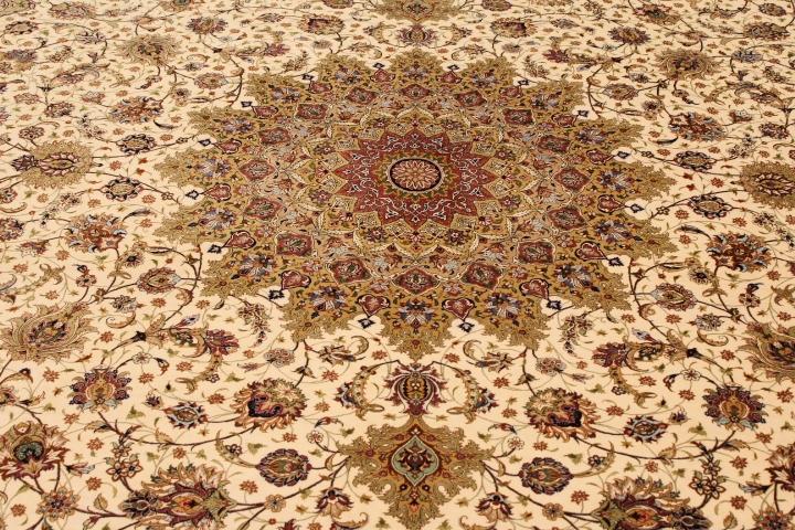 13x10 oversize beige Qom silk Persian rugs. Pure Silk Qum Persian carpet in 3m by 4m oversize.