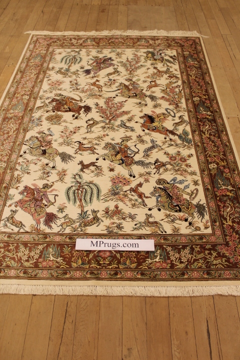 Pictorial Hunting Design Qom silk Persian rugs. Pure Silk Qum Persian carpet with hunting design.