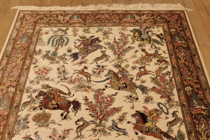 Pictorial Hunting Qom Persian Rugs Silk Hunting Qum Carpets
