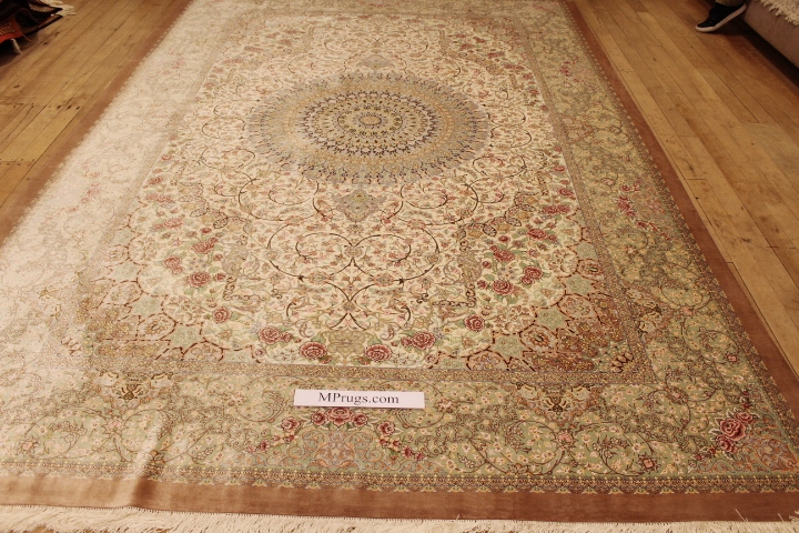 11x8 Light Pastel Colored Qom Silk Persian Rugs Pure Qum Carpet With