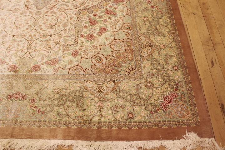 11x8 Light Pastel Colored Qom Silk Persian Rugs Pure Qum Carpet With
