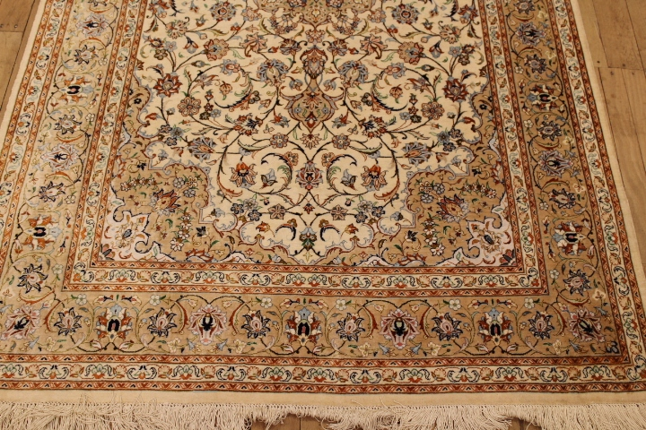 Light colored 6x4 Qom silk Persian rugs. Pure Silk Qum Persian carpet with classic design light brown.