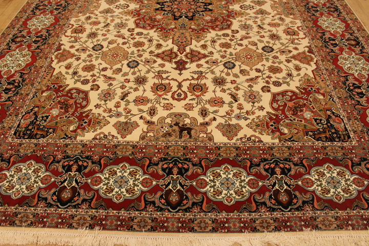 60 Raj Allebov Tabriz Persian rug with a silk foundation. 10x13 silk Allebov Tabriz Persian carpet.