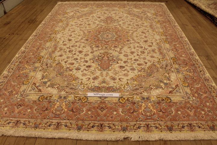60 Raj Tabriz Persian rug with a silk foundation. 11x8 silk Tabriz Persian carpet