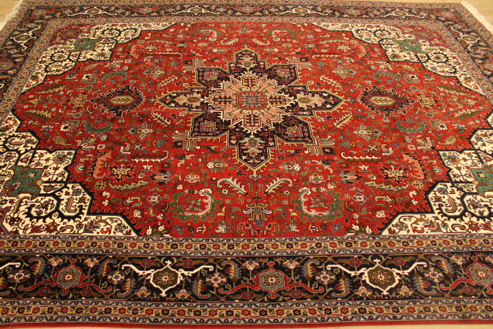 50 Raj Tabriz Persian rug with a rusty red and blue color. High Quality Tabriz Persian carpet with silk