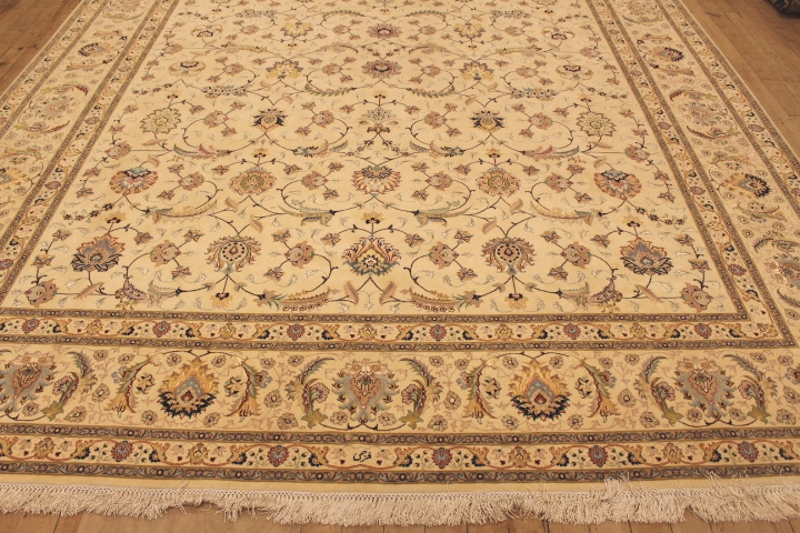 55 Raj Faraji Tabriz Persian rug with a silk foundation. 10x13 silk Faraji Tabriz Persian carpet.