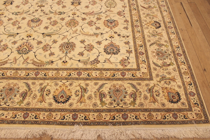 55 Raj Faraji Tabriz Persian rug with a silk foundation. 10x13 silk Faraji Tabriz Persian carpet.