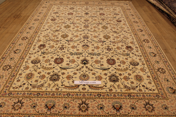 55 Raj Tabriz Persian rug with a silk foundation. 11x8 silk Tabriz Persian carpet
