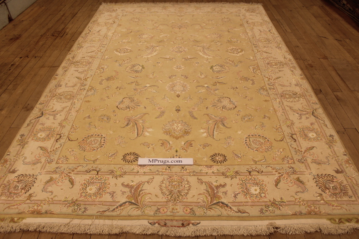 55 Raj Tabriz Persian rug with a silk foundation. 9x6 silk Tabriz Persian carpet