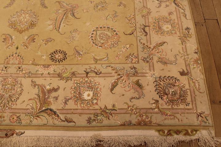55 Raj Tabriz Persian rug with a silk foundation. 9x6 silk Tabriz Persian carpet