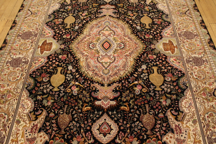 70 Raj black Tabriz Persian rug with a silk foundation. Masterpiece Tabriz Persian carpet