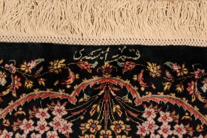 7x5 dark colored Qom silk Persian rugs. Pure Silk Qum Persian carpet with over 700KPSI.