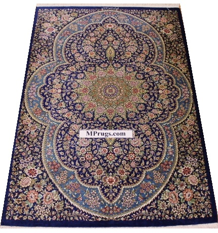 pure silk handmade Persian rug for floors and walls