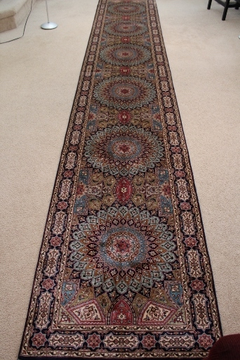 Indu Tabriz Gonbad Persian rug runner made of silk, 14x3 silk Gombad Persian carpet