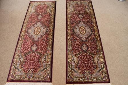 5' twin qom Persian rug runners; pure silk Qum twin Persian carpet runners. Genuine pure silk qom Persian rug runners.