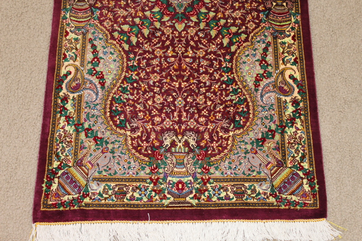 5' twin qom Persian rug runners; pure silk Qum twin Persian carpet runners. Genuine pure silk qom Persian rug runners.