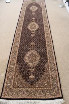 10' Tabriz Persian rug runner; Pirouzian Mahi Tabriz Persian carpet runner. Signed long Mahi Tabriz Persian carpet.