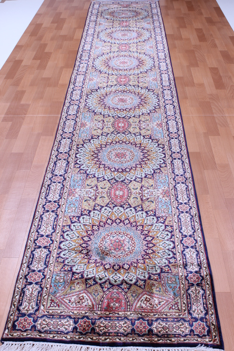 Long Gonbad Indian Tabriz Persian rug runner; 14' long silk Persian Rugs genuine handmade. gombad keshmir silk carpet runner.