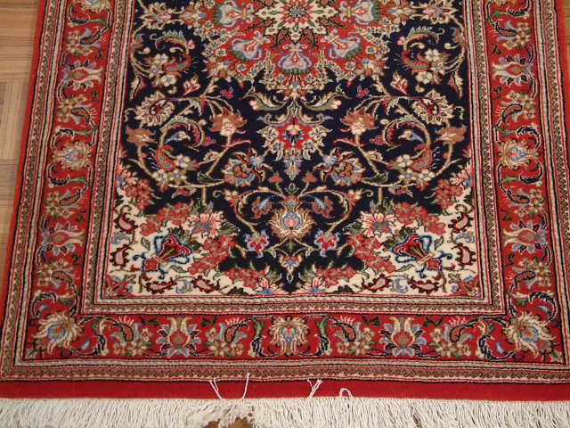 13' Qom Persian rug runner; All Persian Rugs are genuine handmade. Also, every Persian Qom rug I offer is made with pure silk only.