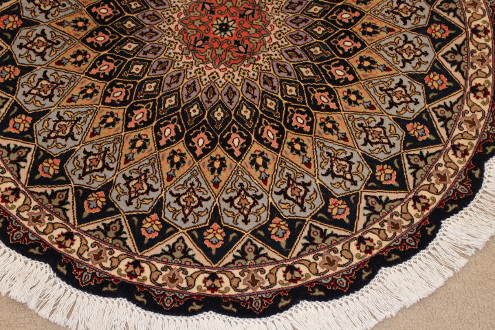 Round Gonbad Tabriz Persian Rug; 3u0027 1m Round Tabriz Persian Rugs Genuine  Handmade.