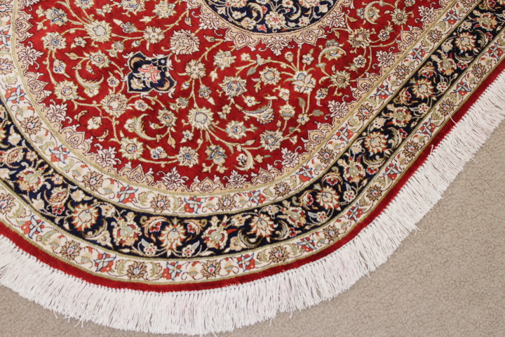 oval 2x3 pure silk qom Persian rug; high quality oval Persian Rugs genuine handmade. oval pure silk qum red and blue Persian rug.