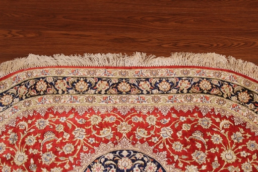 oval 2x3 pure silk qom Persian rug; high quality oval Persian Rugs genuine handmade. oval pure silk qum red and blue Persian rug