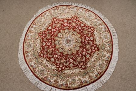 round qom Persian rug; high quality round Persian Rugs handmade. small red round qum Persian pure silk rug.