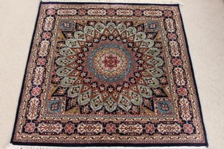 Gonbad Silk Persian rug #2126, square silk Gonbad Persian carpet.