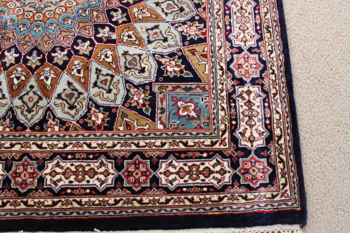 square Gonbad Indian Tabriz Persian rug; square silk Persian Rugs genuine handmade. square keshmir silk carpet.