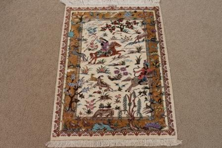 Pictorial 2x3 Hunting Design Qom silk Persian rugs. Pure Silk Qum Persian carpet with hunting design.