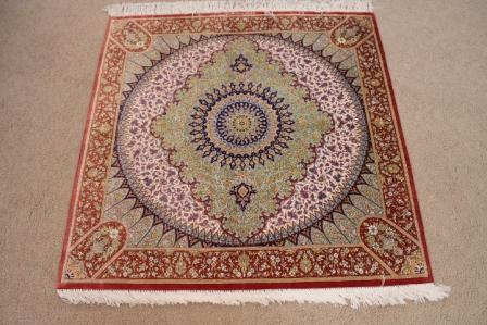 3' 1m square Qom silk Persian rugs. Square pure Silk Qum Persian carpet, square gonbad carpet