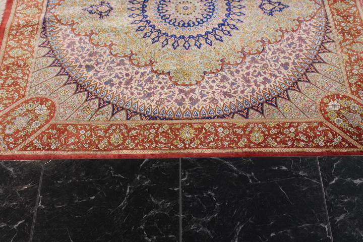 3' 1m square Qom silk Persian rugs. Square pure Silk Qum Persian carpet, square gonbad carpet