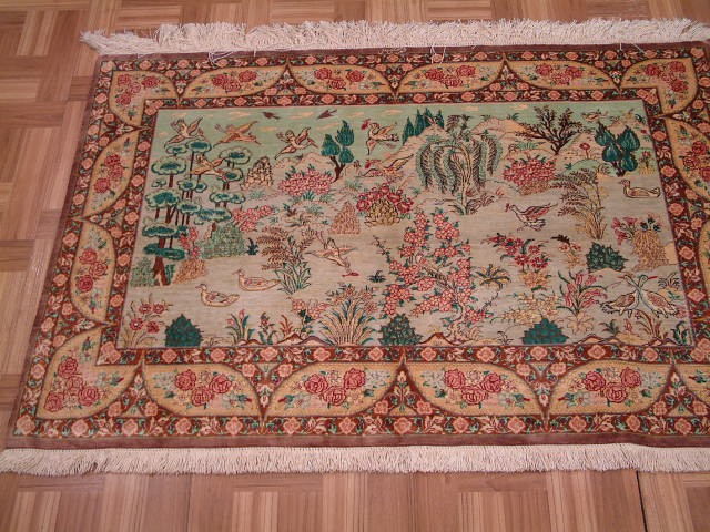 Qom Persian rug #2102, click on the picture or description for more details about the Persian carpets.