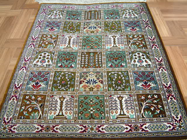 Qom Persian rug #2120, click on the picture or description for more details about the Persian carpets.