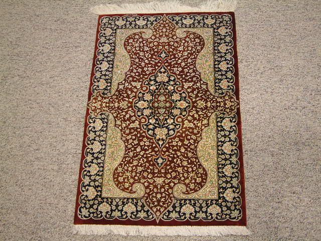 Qom Persian rug #2096, click on the picture or description for more details about the Persian carpets.